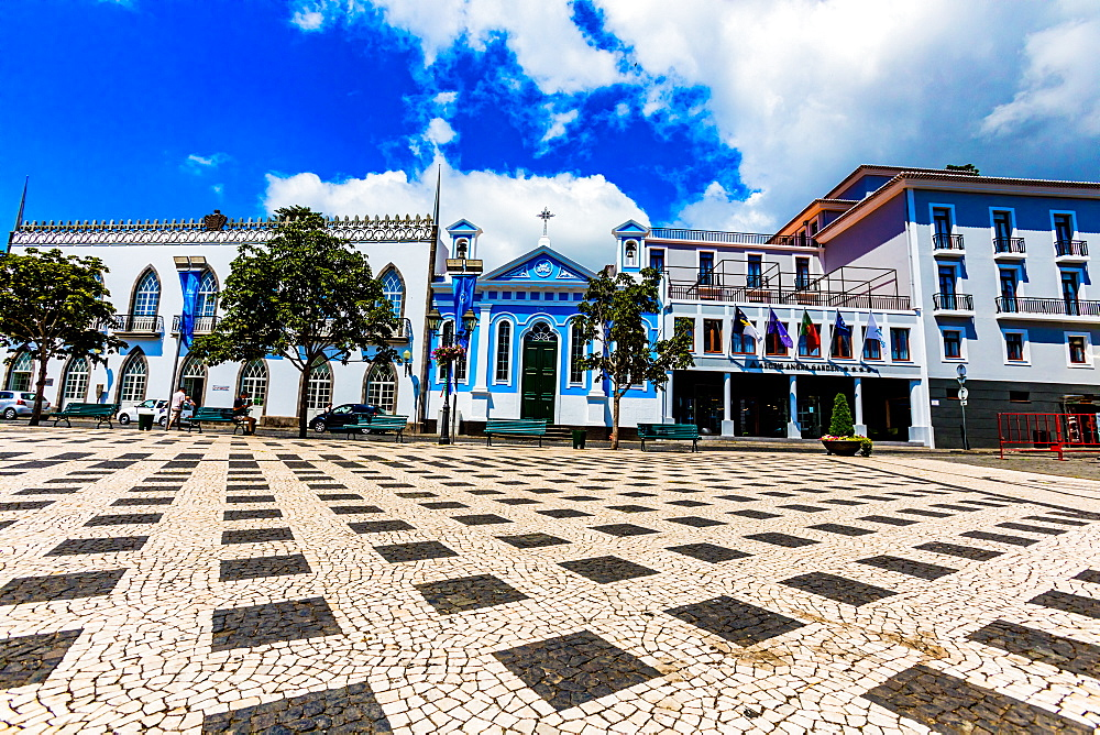 Colorful buildings in the little town called Sao Mateus village around Terceira Island, Azores, Portugal, Atlantic, Europe