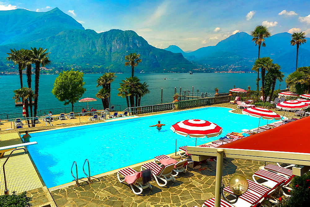 Poolat Hotel Villa Serbelloni, Bellagio, Lake Como, Lombardy, Italy, Europe