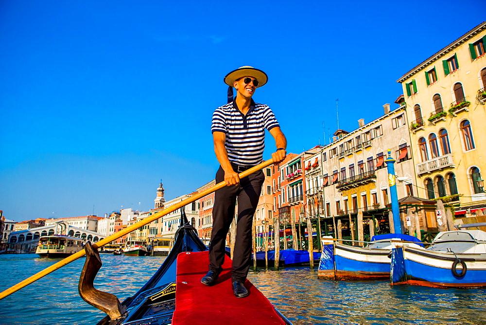 Gondolier in Venice, UNESCO World Heritage Site, Veneto, Italy, Europe - 1218-84