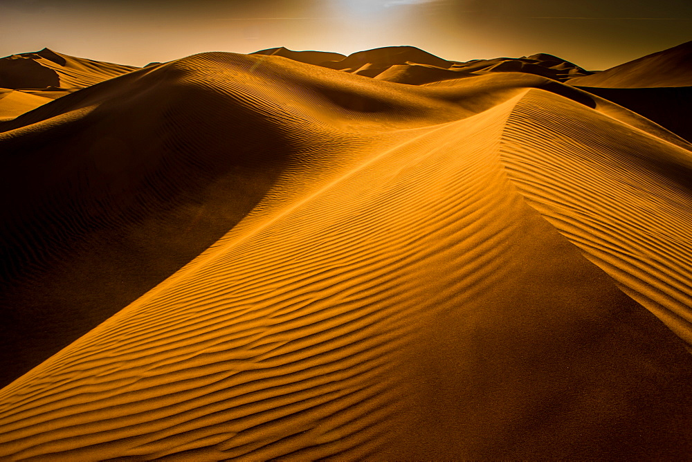 Sand dunes at Huacachina Oasis, Peru, South America