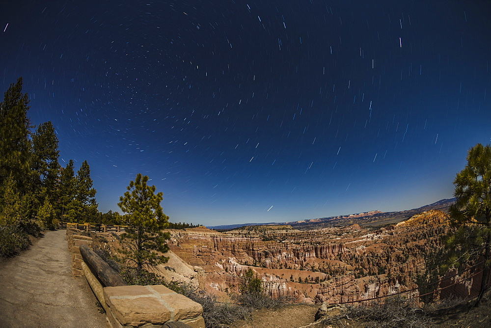 Star trails above Bryce Canyon National Park, Utah, United States of America, North America