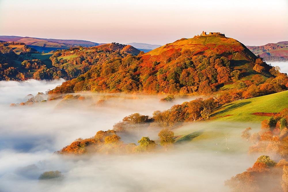 The medieval castle Dinas Bran standing above the mist and fog on an autumn morning, Denbighshire, Wales, United Kingdom, Europe