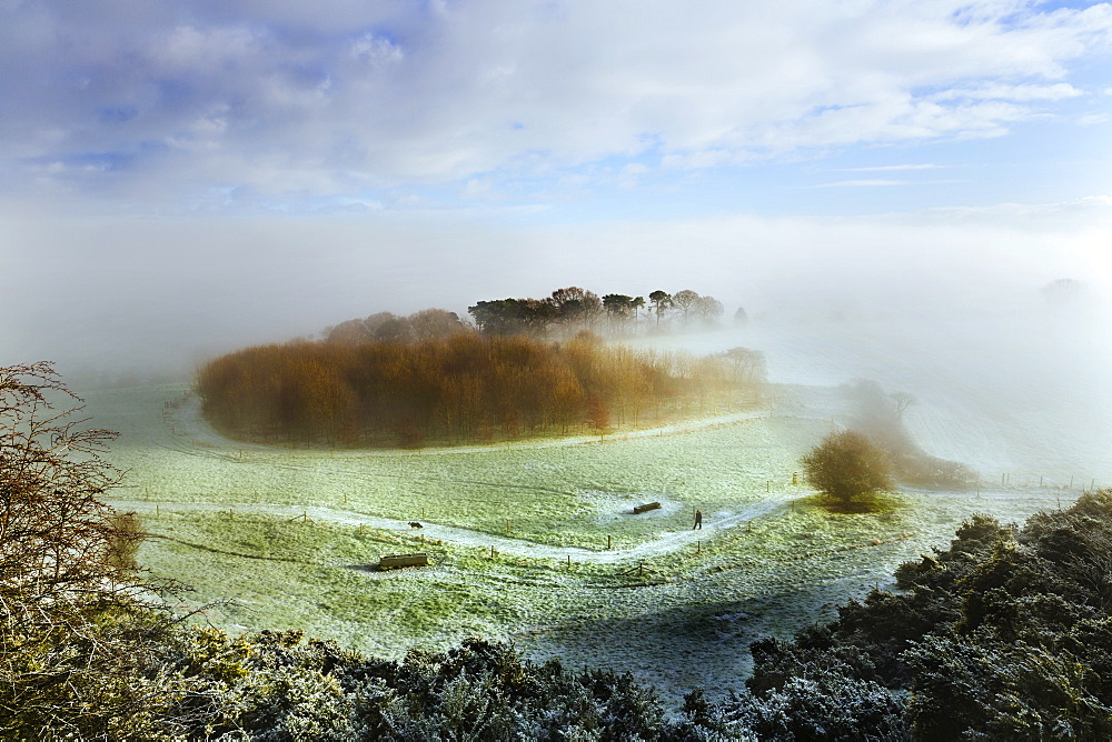 A lady walking her dog along a footpath below Eddisbury Hill on a frosty winters morning with fog and mist clearing beyond, Cheshire, England, United Kingdom, Europe