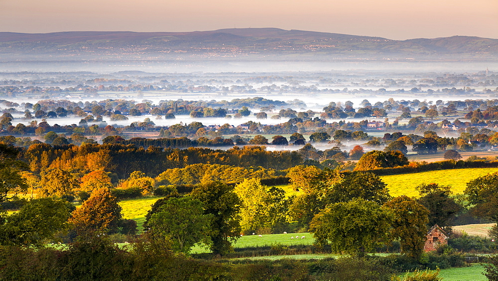 Autumn mists on the Cheshire plain extending across the landscape to the Welsh hills, Cheshire, England, United Kingdom, Europe - 1219-136