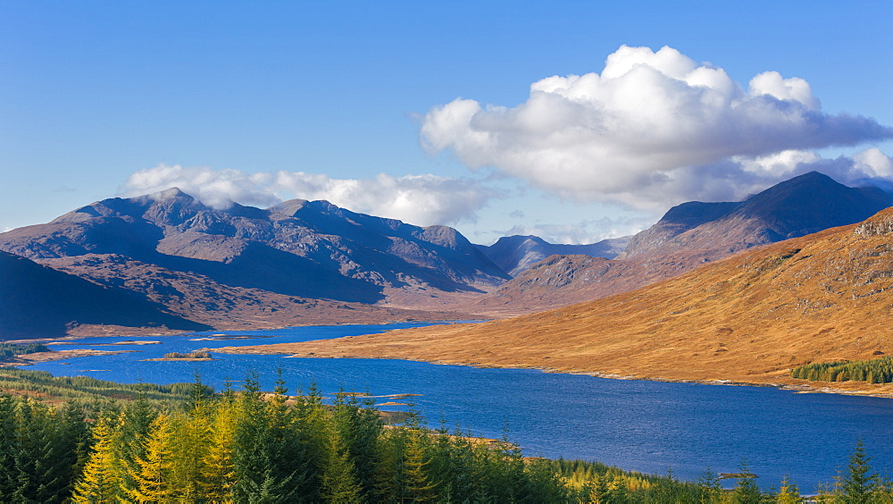 The road to the Scottish Highlands passing Loch Loyne and the distant mountains, Scotland, United Kingdom, Europe - 1219-179
