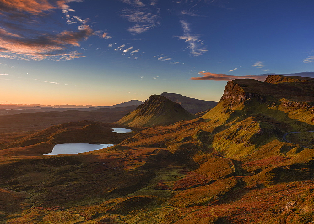 The Trotternish ridge at dawn looking south to the Cleat, and beyond to the Sound of Raasay, Scottish Highlands, Scotland, United Kingdom, Europe - 1219-180