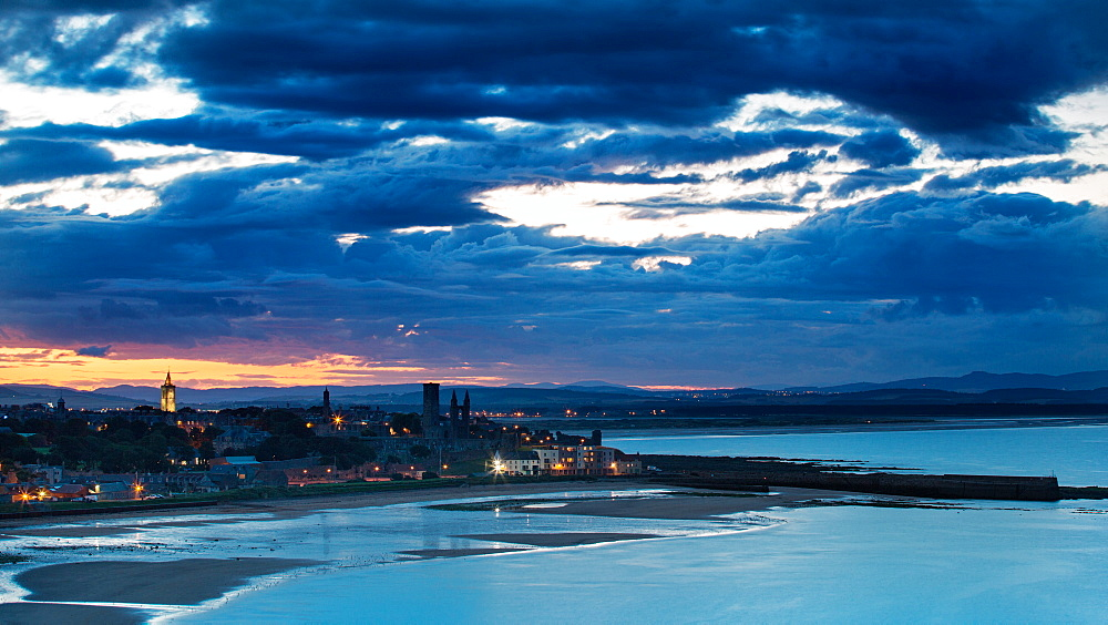 Looking across St. Andrews Bay and beyond to Perthshire at twilight, Fife, Scotland, United Kingdom, Europe - 1219-192