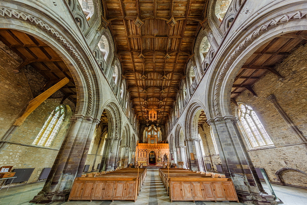 Interior of St. David's cathedral, Pembrokeshire, Wales, United Kingdom, Europe