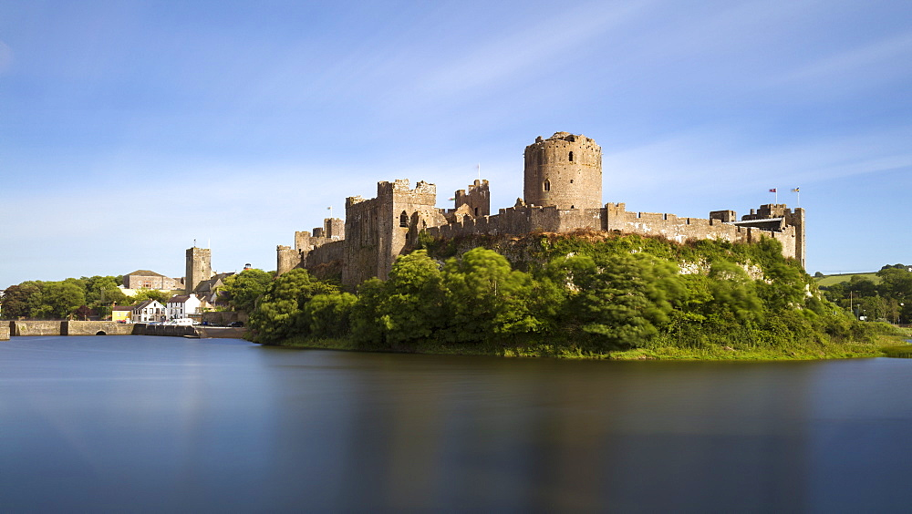 Pembroke Castle and town walls on a summers evening, Pembroke, Wales, United Kingdom, Europe - 1219-206
