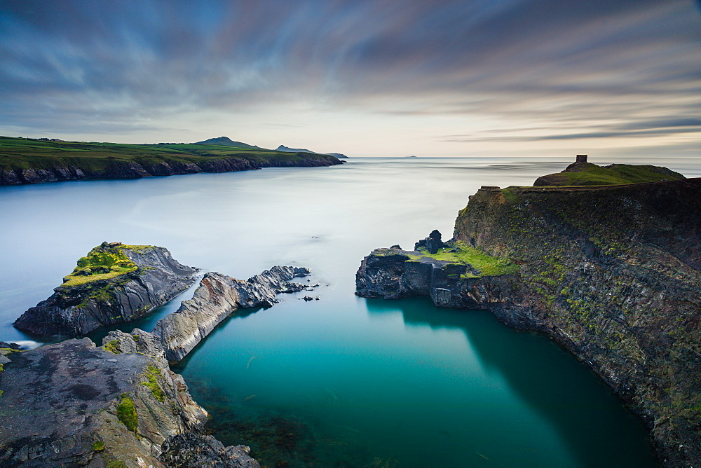 Looking along the Pembrokeshire coast headland above the Abereiddy Blue Lagoon, a former slate quarry, Wales, United Kingdom, Europe