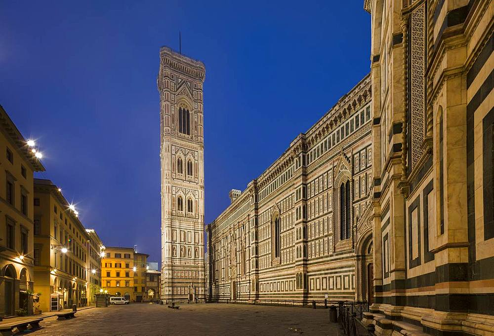 A deserted Piazza Del Duomo extends alongside the Cathedral (Duomo) to the Campanile in the early morning, Florence, UNESCO World Heritage Site, Tuscany, Italy, Europe - 1219-234