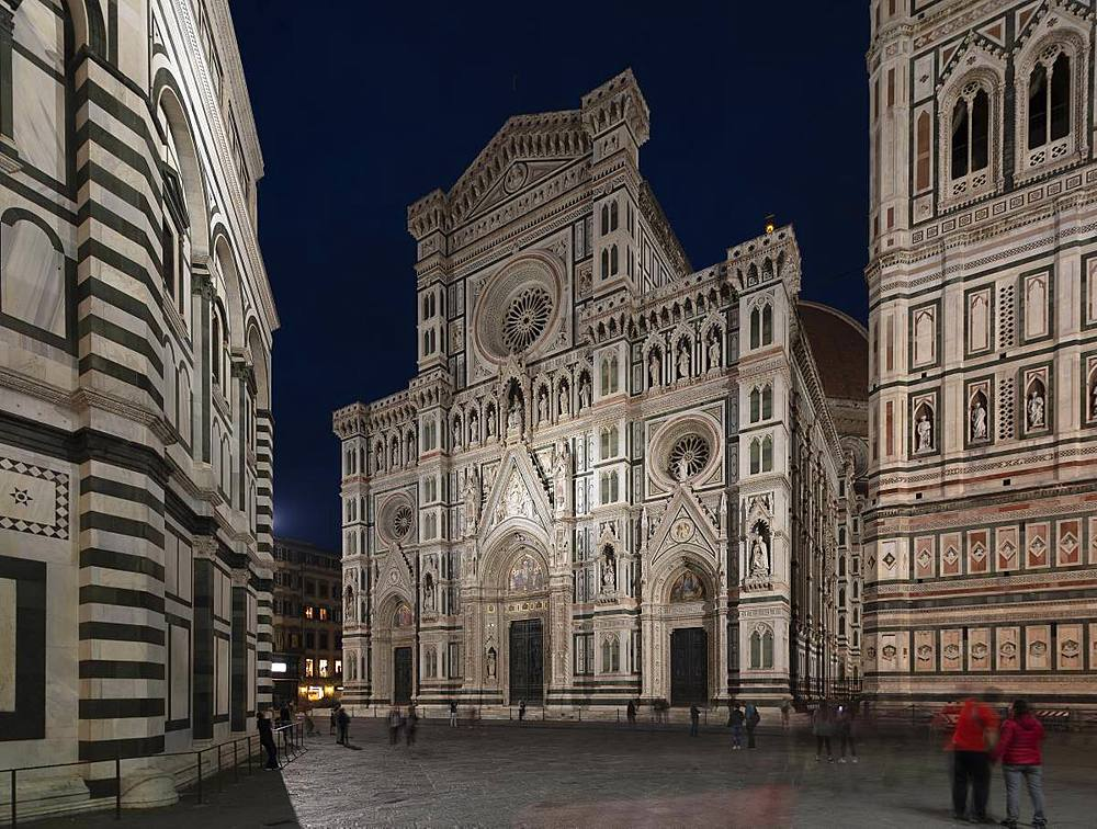 The neo-gothic marble facade of the Duomo (Cathedral) framed by the Campanile and Baptistry on an evening in Florence, UNESCO World Heritage Site, Tuscany, Italy, Europe