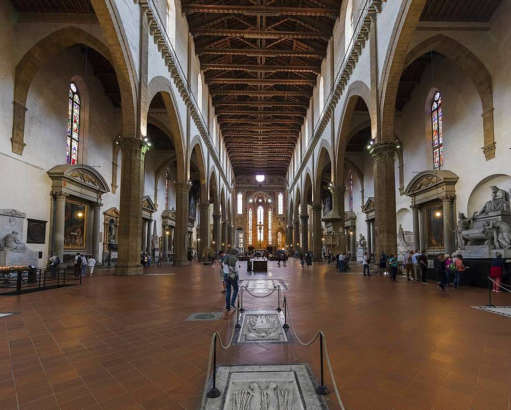 The interior of the Gothic church of Santa Croce, Florence, Tuscany, Italy, Europe - 1219-242