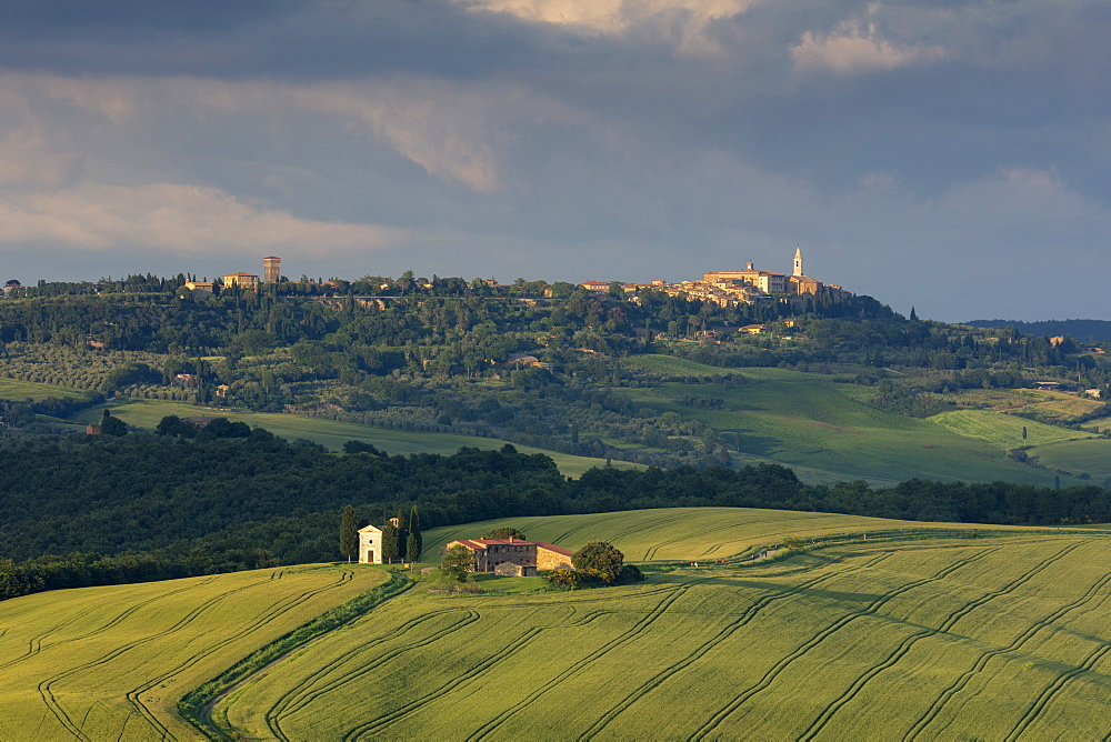 Looking across the Val d'Orcia and Chapel of Madonna di Vitaleta with the late evening sun illuminating the town of Pienza, UNESCO World Heritage Site, Tuscany, Italy, Europe - 1219-266
