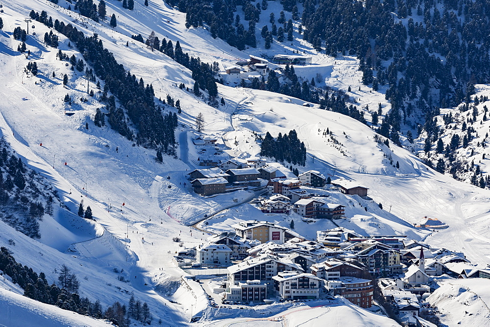 The Austrian skiing village of Obergurgl covered in winter snow at the end of the Otztal valley, Tyrol, Austria, Europe