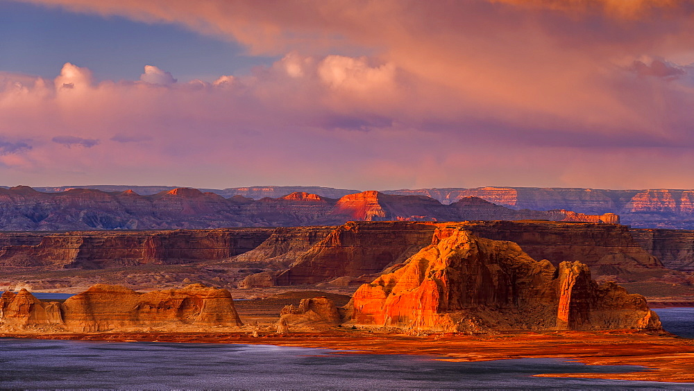 Sunset illuminates the rugged mountainous outcrops of Grand Staircase-Escalante National Monument, Arizona, United States of America, North America
