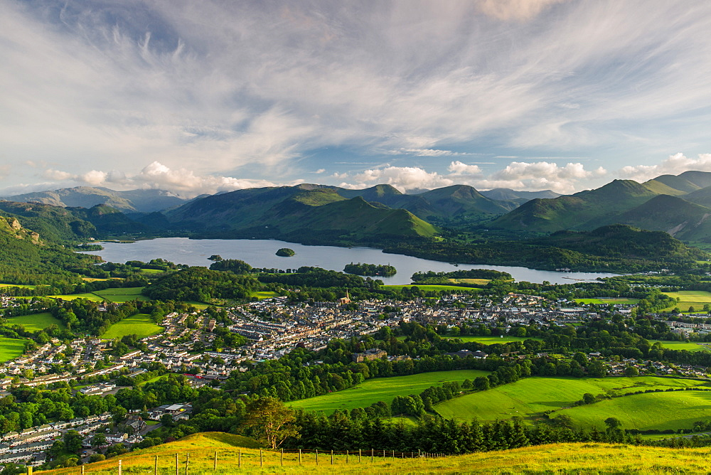 Keswick, Derwent Water and the surrounding fells of Lake District National Park on a summer afternoon, Cumbria, England, United Kingdom, Europe