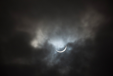 Just minutes after a full Solar Eclipse, as seen from Anglesey in 2015, Wales, United Kingdom, Europe