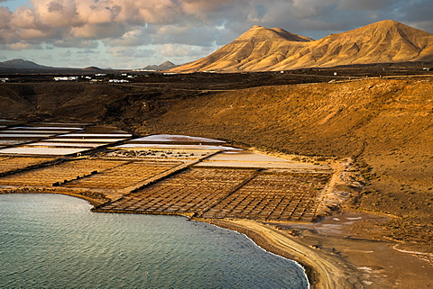 Janubio salt pan on South West coast, a tourist attraction but also an active salt production company, Lanzarote, Canary Islands, Spain, Atlantic, Europe