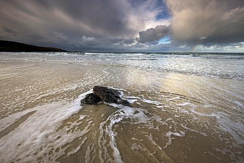 Surf under stormy skies at Porthmeor Beach, St. Ives, Cornwall, England, United Kingdom, Europe