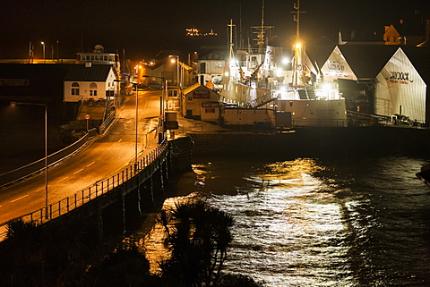 Scillonian ferry in Penzance dry dock during a storm lashed night, Penzance, Cornwall, England, United Kingdom, Europe
