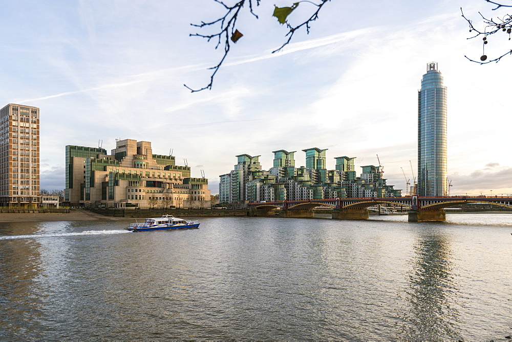 The MI5 Building, St. George's Tower, Vauxhall Bridge and the River Thames, London, England, United Kingdom, Europe