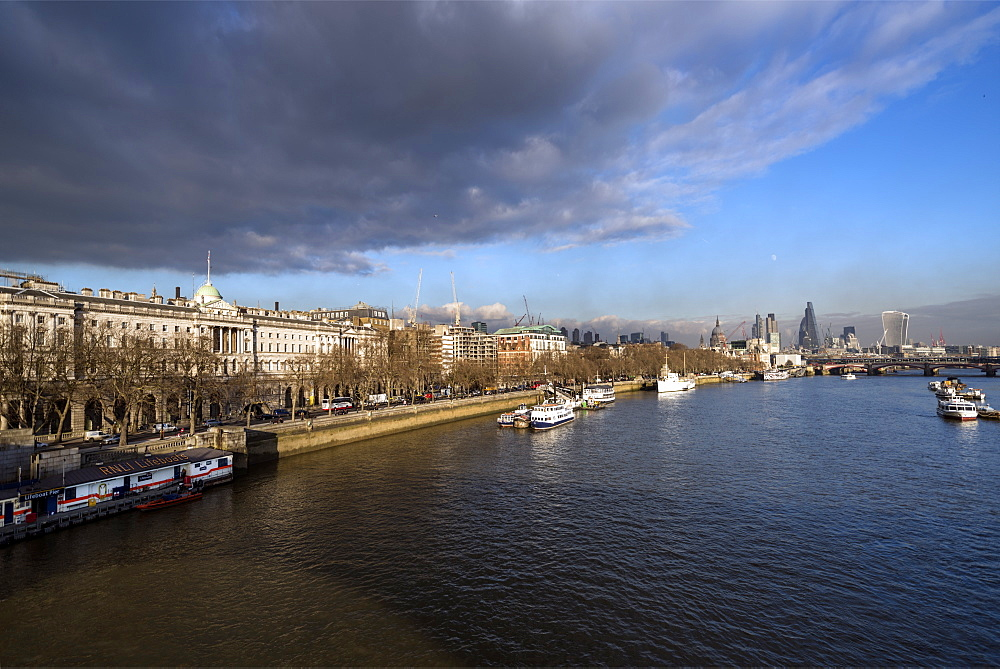The River Thames looking East from Waterloo Bridge, London, England, United Kingdom, Europe - 1223-2