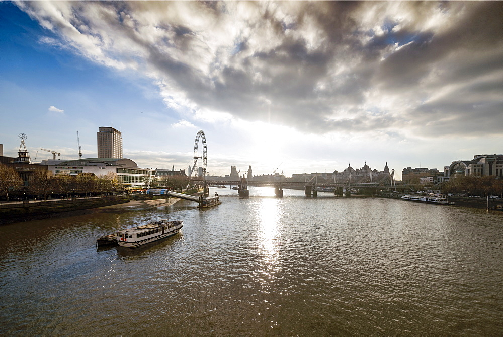 The River Thames looking West from Waterloo Bridge, London, England, United Kingdom, Europe - 1223-3