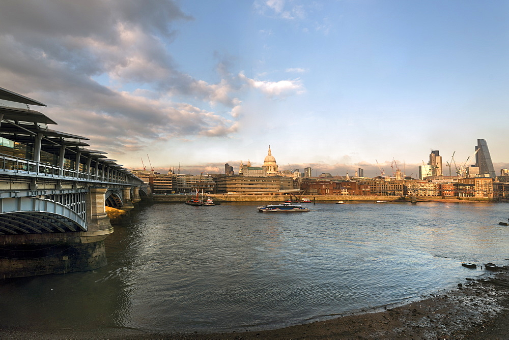 The River Thames and St. Paul's Cathedral looking north from the South Bank, London, England, United Kingdom, Europe - 1223-5
