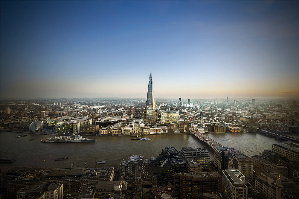 The Shard and River Thames looking South, London, England, United Kingdom, Europe - 1223-6