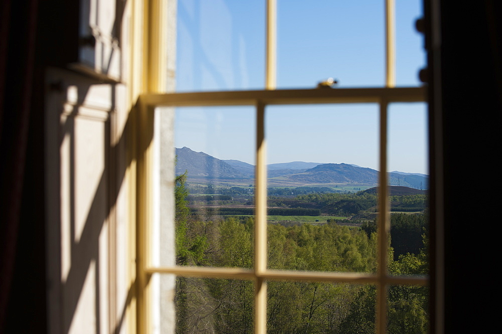 A view out across the Cairngorms National park from a country house in Scotland