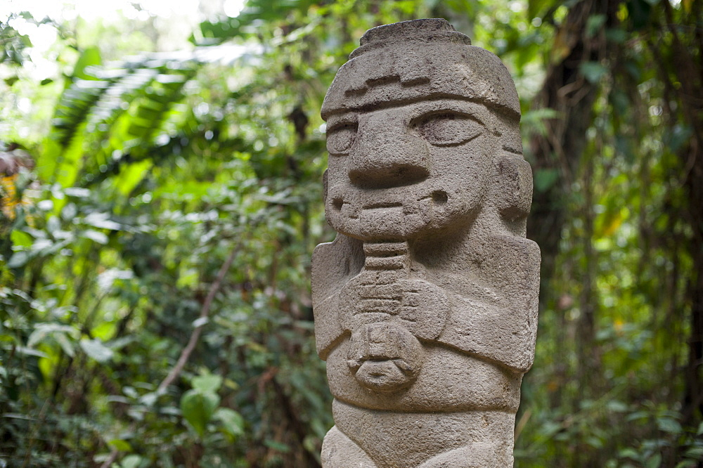An ancient pre-Columbian stone carving at San Agustin, UNESCO World Heritage Site, in the south of Colombia, South America