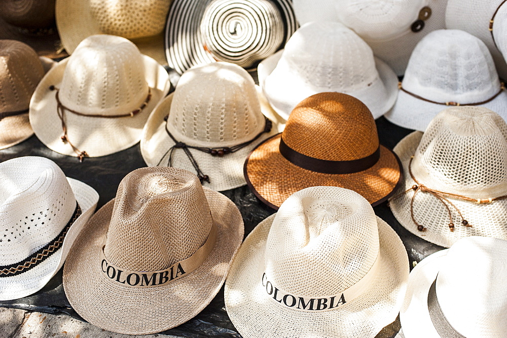 Traditional Panama hats for sale at a street market in Cartagena, Colombia, South America