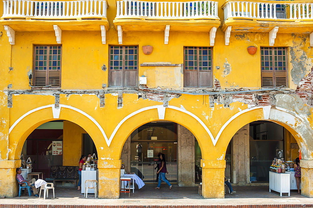 Traditional arches in the colorful old town of Cartagena, Colombia, South America