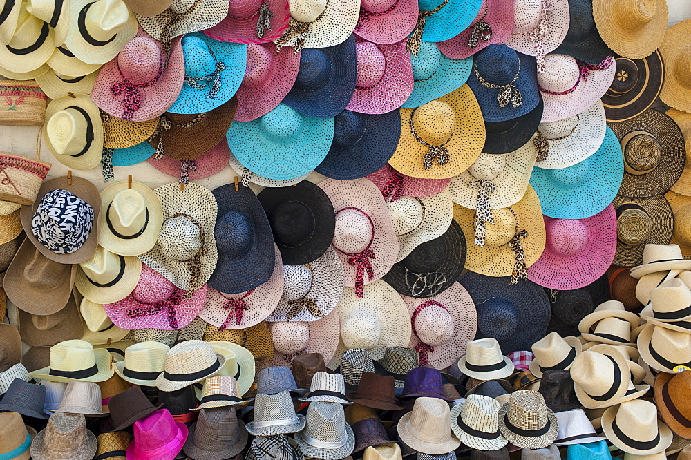 Traditional Panama hats and Sombreros for sale at a street market in Cartagena, Colombia, South America