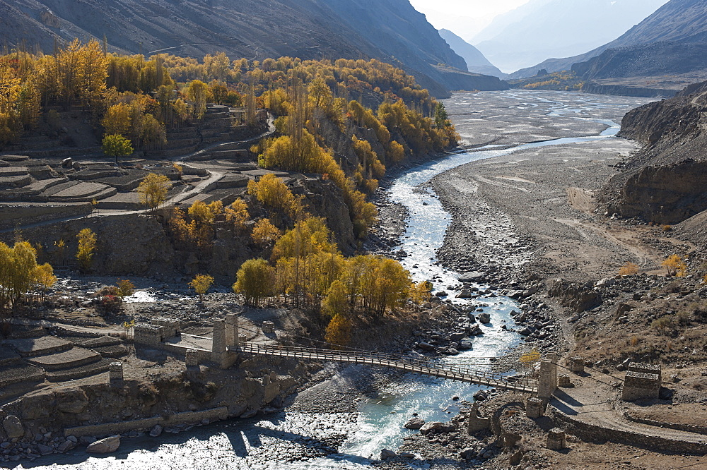 Hushe village beside a meandering river, Gilgit-Baltistan, northern Pakistan, Asia