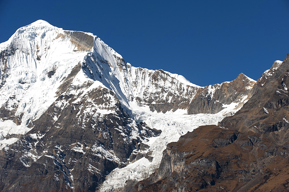 The looming face of Jomolhari, third highest mountain in Bhutan at 7326m, seen from Jangothang, Thimpu District, Bhutan, Himalayas, Asia - 1225-1130