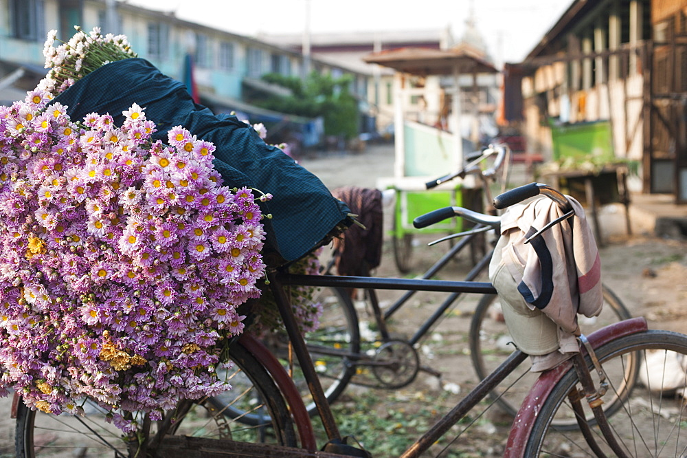 A bike loaded with fresh flowers at the flower market in Mandalay, Myanmar (Burma), Asia - 1225-1164