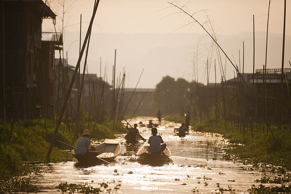 Roads made of water running through the floating villages on Inle lake in Myanmar