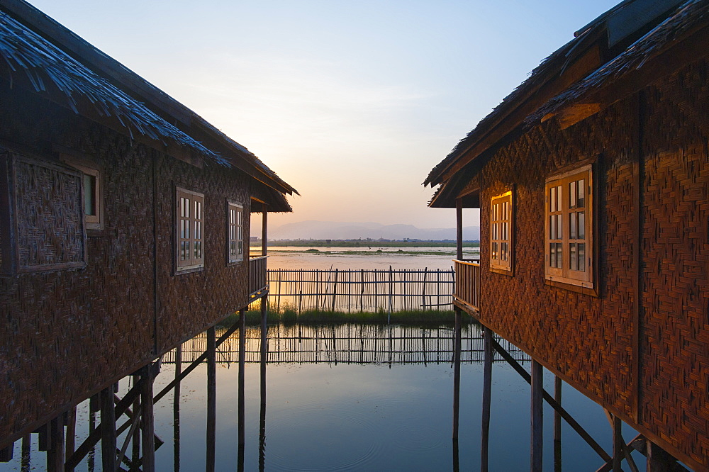 Houses and entire villages built on stilts on Inle Lake, Myanmar (Burma), Asia - 1225-1181