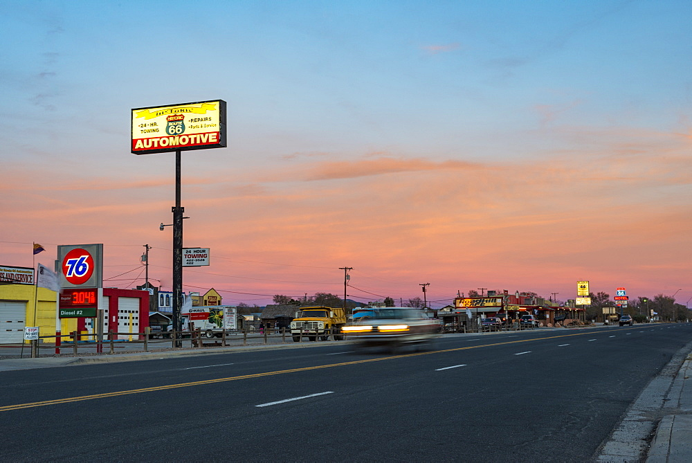 Historic Route 66 town glowing at sunset, Seligman, Arizona, United States of America, North America - 1225-1208