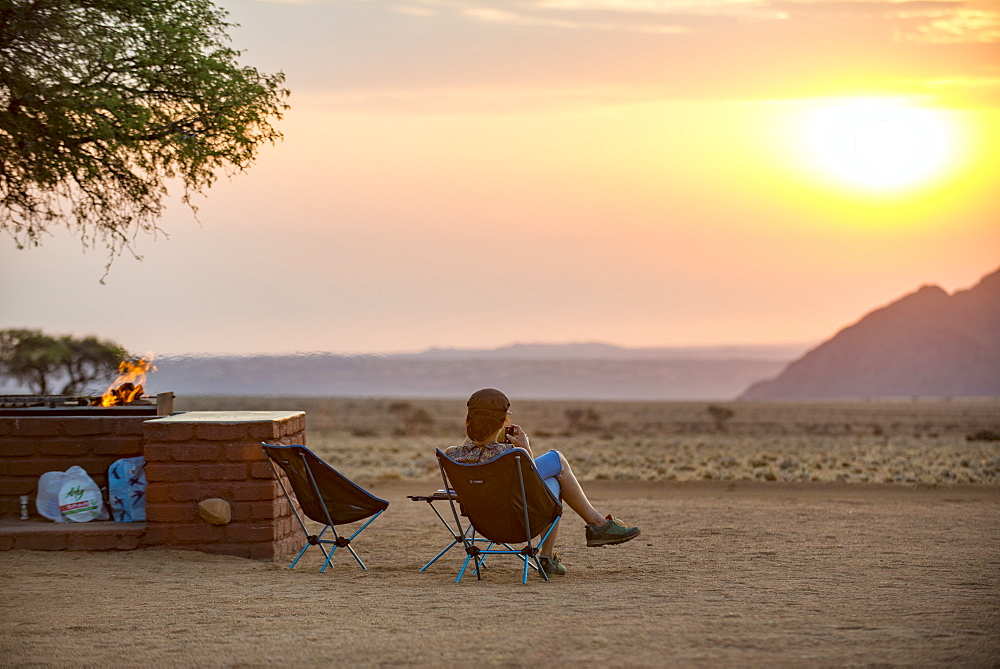 Sunset on the edge of the Namib Desert at the Namib Desert Lodge, Namibia, Africa