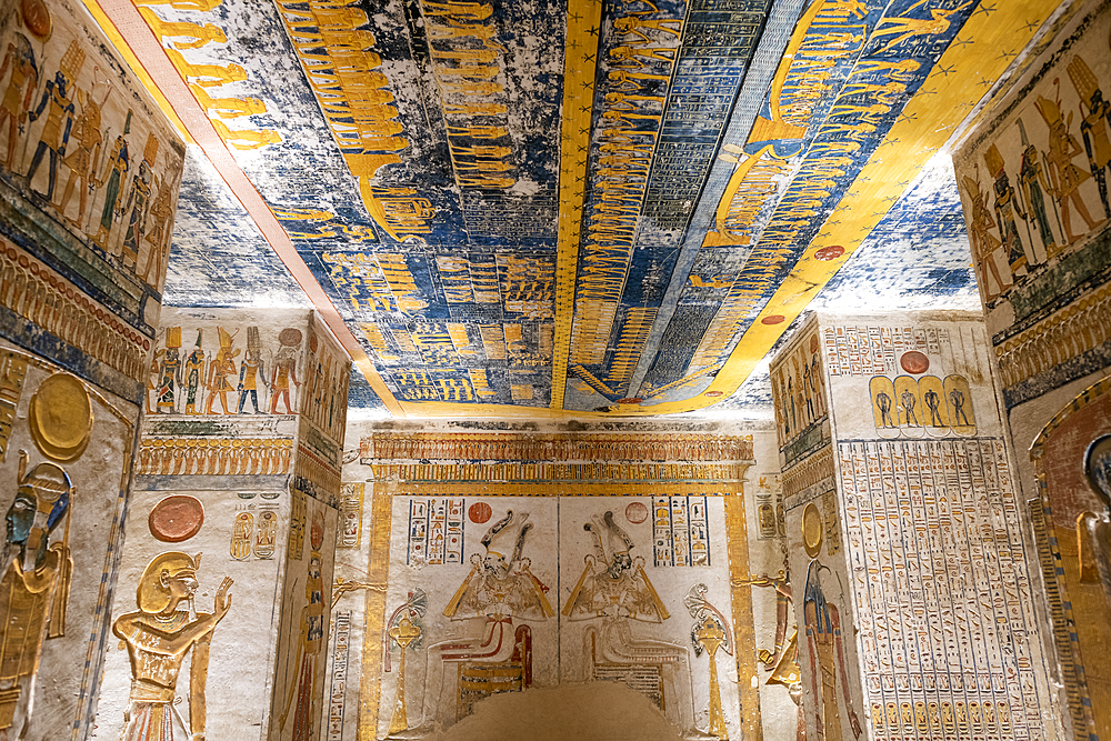 Colorful hieroglyphics and mural paintings in Egyptian Pharaoh Ramses burial chamber in tomb in The Vallery of the Kings, Thebes, UNESCO World Heritage Site, Egypt, North Africa, Africa - 1225-1357