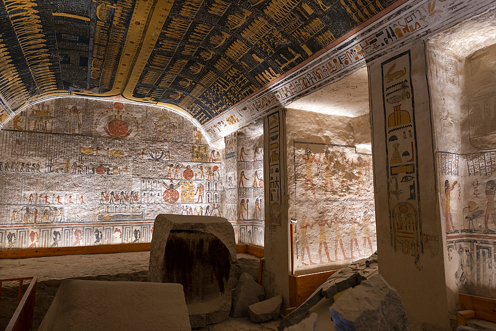 Colorful hieroglyphics and mural paintings in Egyptian Pharaoh Ramses burial chamber in tomb in The Vallery of the Kings, Thebes, UNESCO World Heritage Site, Egypt, North Africa, Africa