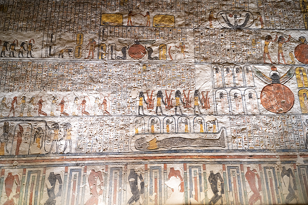 Colorful hieroglyphics and mural paintings in Egyptian Pharaoh Ramses burial chamber in tomb in The Vallery of the Kings, Thebes, UNESCO World Heritage Site, Egypt, North Africa, Africa - 1225-1359