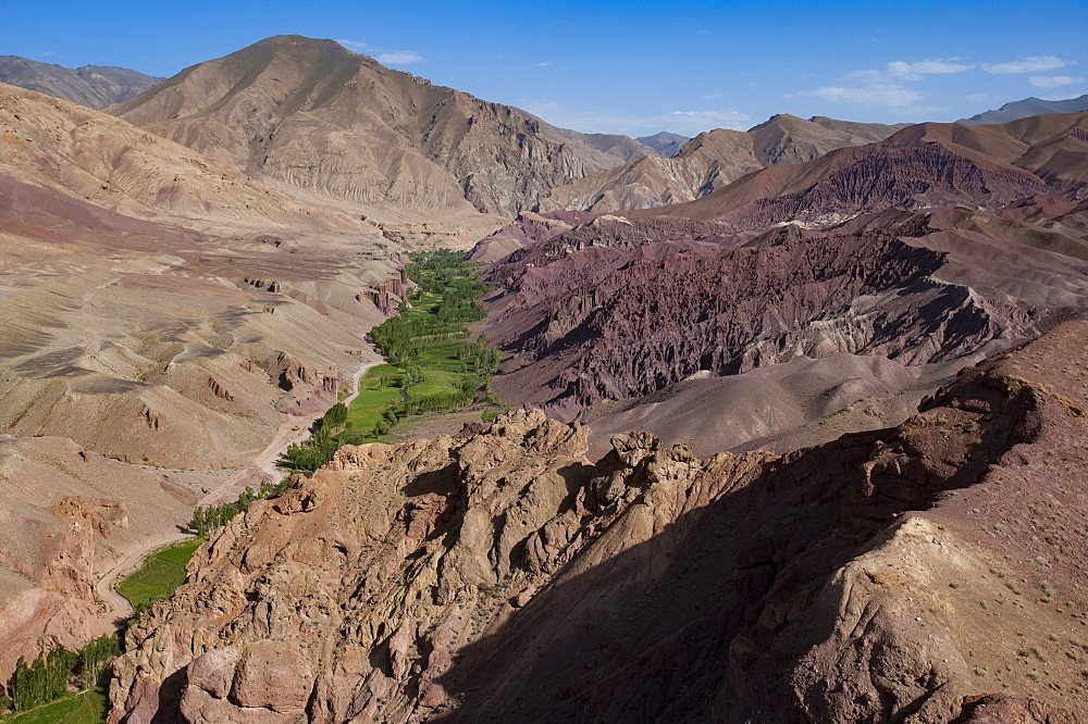 Rugged landscapes and green patchwork fields near Shahr-e Zohak, Afghanistan, Asia