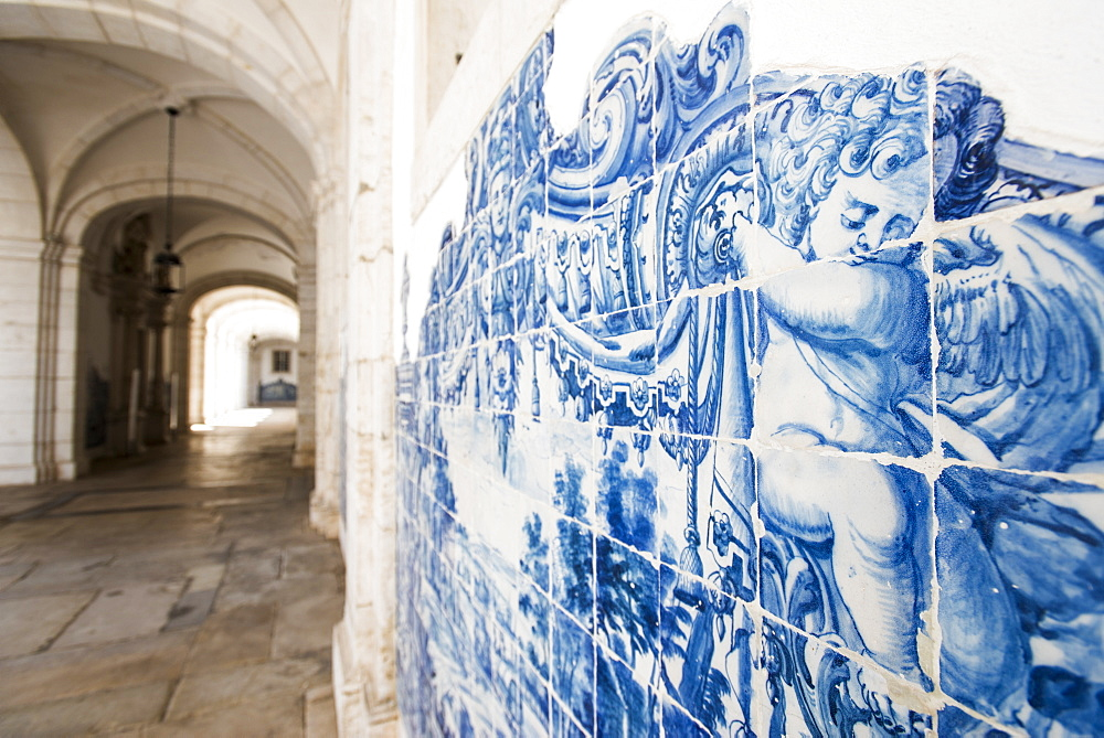 Walls covered in beautuful Azelejo tiles on display at The National Azulejo Museum in Lisbon, Portugal, Europe