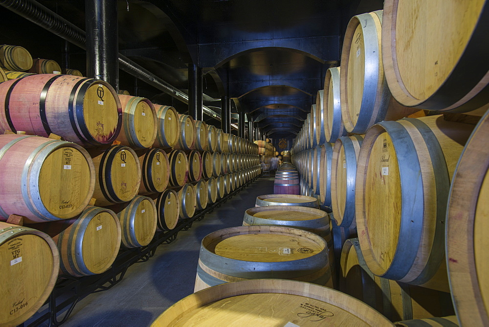 Wine ageing in oak barrels in a cellar at a winery in the Alto Douro region of Portugal, Europe