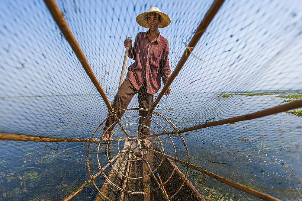 A basket fisherman on Inle Lake scans the still and shallow water for signs of life, Shan State, Myanmar (Burma), Asia - 1225-210