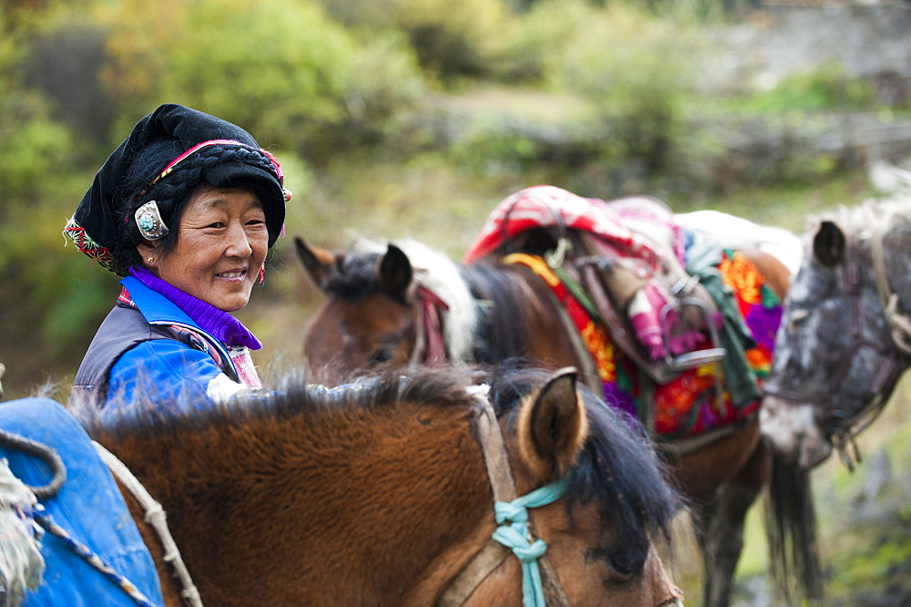 A Tibetan women from Mount Siguniang in Sichuan Province, China, Asia